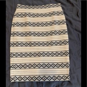 Black and Ivory Pencil Skirt